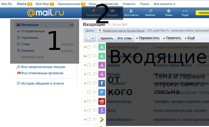 Главная страница электронного почтового ящика