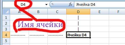 Имя ячейки в MS Excel 2007-2010