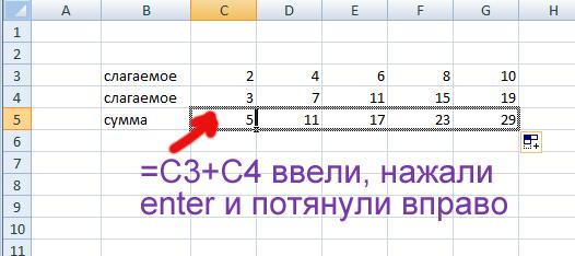 Сложение нескольких ячеек Excel