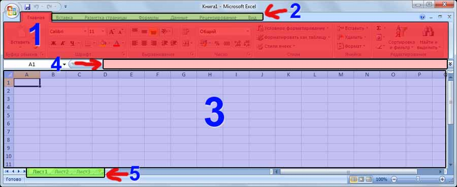 Внешний вид окна программы Excel 2007