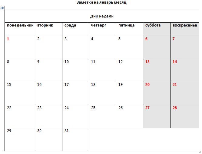 Пример таблицы с форматированием