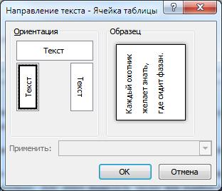Окно выбора расположение текста в ячейке