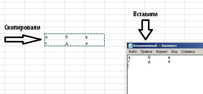 Копируем из Excel в Блокнот