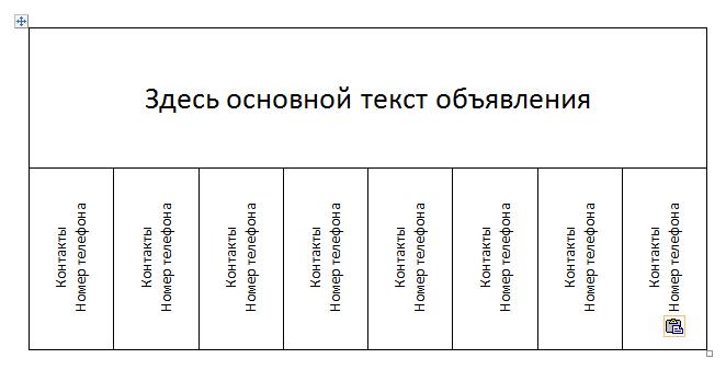 Конструкция расположения текста в объявлении