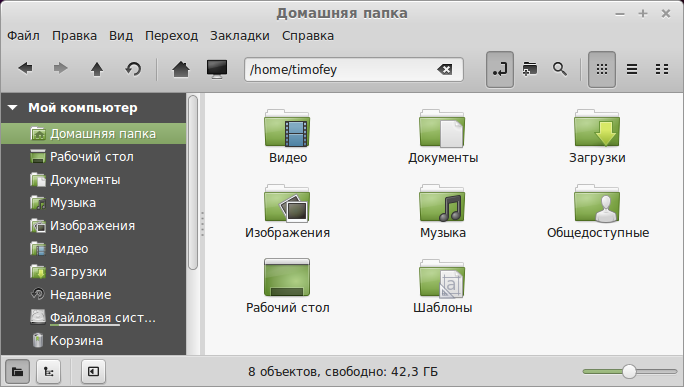 Домашняя папка LinuxMint